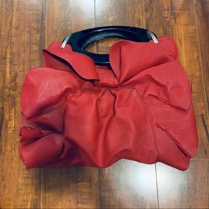 Handbags - Locale Red Purse with Ruffles